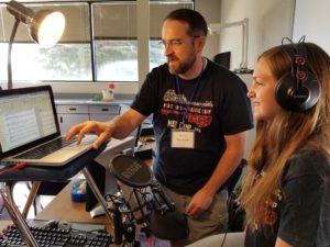 Mat Camp faculty member teaching sound editing