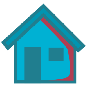 MAT Camp Host Family icon - a graphic image of a house in blues & reds