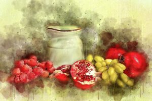 Still Life Painting with white ewer pitcher & fruit