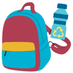 What to bring Icon - a graphic of a backpack & water bottle
