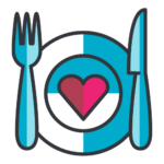 Meal Plan Icon - dinner plate, fork & knife in blues and reds
