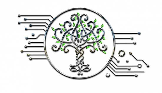 Chrome tree with leaves - highly stylized image