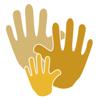 Volunteer Icon - 3 hands from large to small in various shades of gold