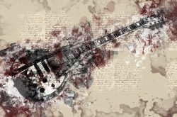 Loose abstract painting of a guitar